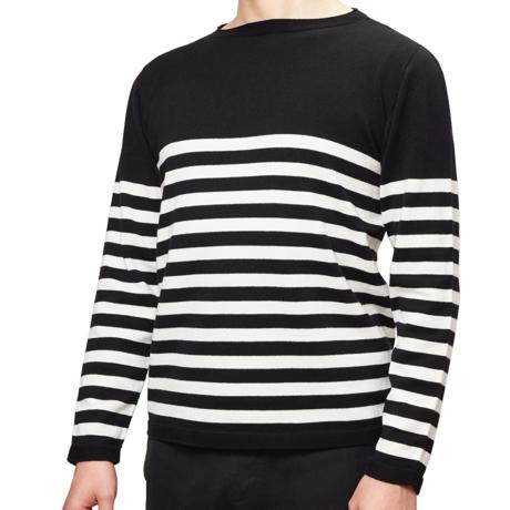 縫い目がない「カシミア混ニット」|Lサイズ(ボーダー)縫い目がない理想的な着心地、ホールガーメント・カシミア混長袖ニット|BLACK(在庫限り)