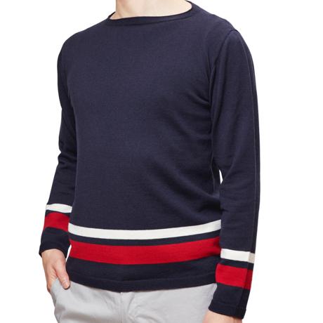 縫い目がない「カシミア混ニット」|Lサイズ(ボーダー)縫い目がない理想的な着心地、ホールガーメント・カシミア混長袖ニット|NAVY(在庫限り)