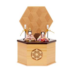 *今期完売*《鹿沼組子 - 六角形(小)》7つの日本伝統工芸をコンパクトにした、木目込みプレミアム雛人形 | 宝想雛