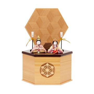 *購入特典付*《鹿沼組子 - 六角形(小)》7つの日本伝統工芸をコンパクトにした、木目込みプレミアム雛人形 | 宝想雛
