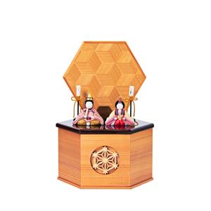 《六角形/小》7つの日本伝統工芸をコンパクトモダンにした、江戸木目込の「プレミアム親王飾り」※第一期受注分|柿沼人形|宝想雛