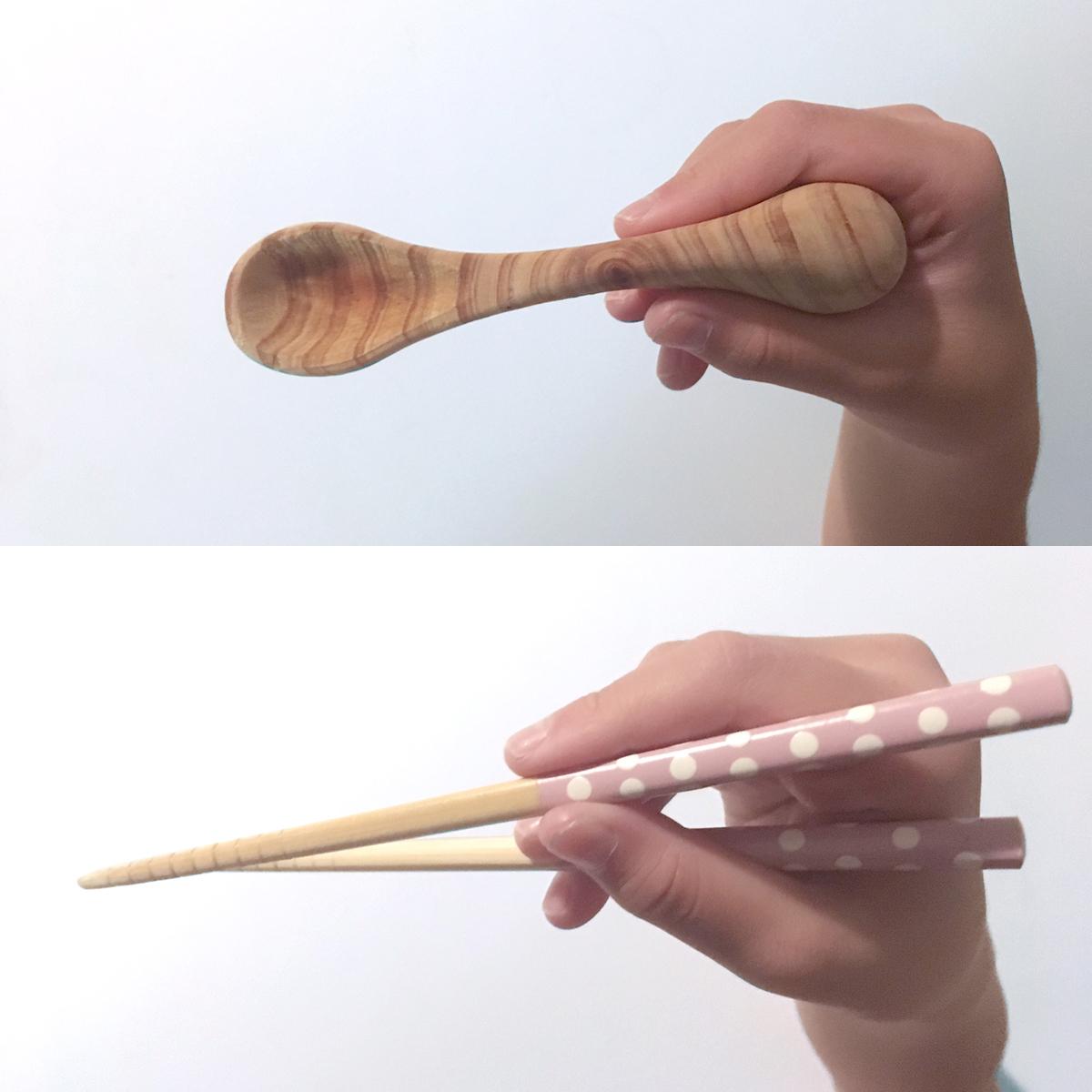 """ゾウさんが教えてくれる「箸の持ち方」 《2~6歳向け》食べるたびに自然と「箸の持ち方」を練習できる""""ゾウさん""""の木製スプーン Elephant Spoon For Kids"""