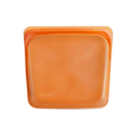 3000回加熱・冷凍できる密閉シリコンバッグ|《450ml/サンドイッチ》密閉保存から調理まで、これひとつで完結!繰り返し使えるシリコンバッグ|stasher<br>|シトラス(オレンジ)