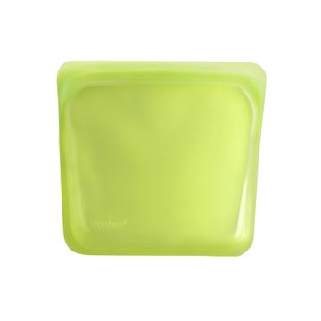 3000回加熱・冷凍できる密閉シリコンバッグ|《450ml/サンドイッチ》食材の密閉保存から調理まで、これひとつでOK!繰り返し使えるマルチバッグ|stasher<br>|ライム(グリーン)