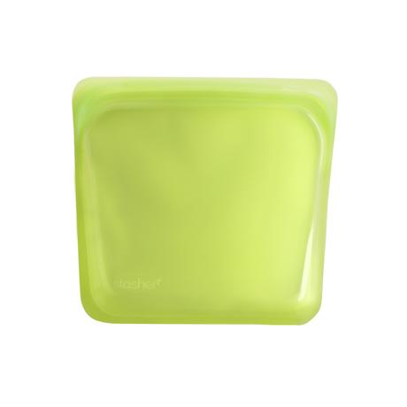 3000回加熱・冷凍できる密閉シリコンバッグ|《450ml/サンドイッチ》密閉保存から調理まで、これひとつで完結!繰り返し使えるシリコンバッグ|stasher<br>|ライム(グリーン)