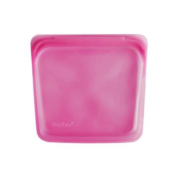 3000回加熱・冷凍できる密閉シリコンバッグ|《450ml/サンドイッチ》食材の密閉保存から調理まで、これひとつでOK!繰り返し使えるマルチバッグ|stasher<br>|ラズベリー(ピンク)