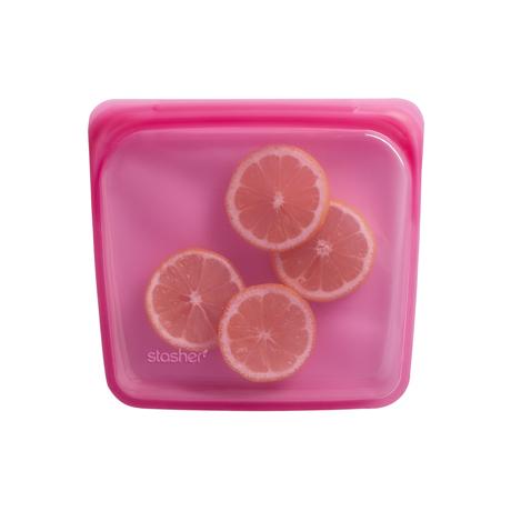 3000回加熱・冷凍できる密閉シリコンバッグ|《450ml/サンドイッチ》密閉保存から調理まで、これひとつで完結!繰り返し使えるシリコンバッグ|stasher<br>|ラズベリー(ピンク)