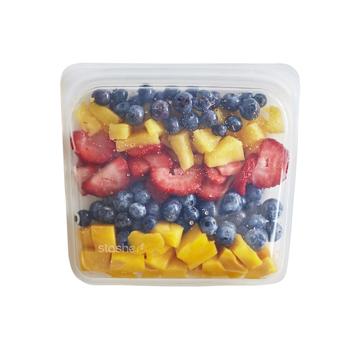 3000回加熱・冷凍できる密閉シリコンバッグ|《450ml/サンドイッチ》食材の密閉保存から調理まで、これひとつでOK!繰り返し使えるマルチバッグ|stasher<br>|クリア