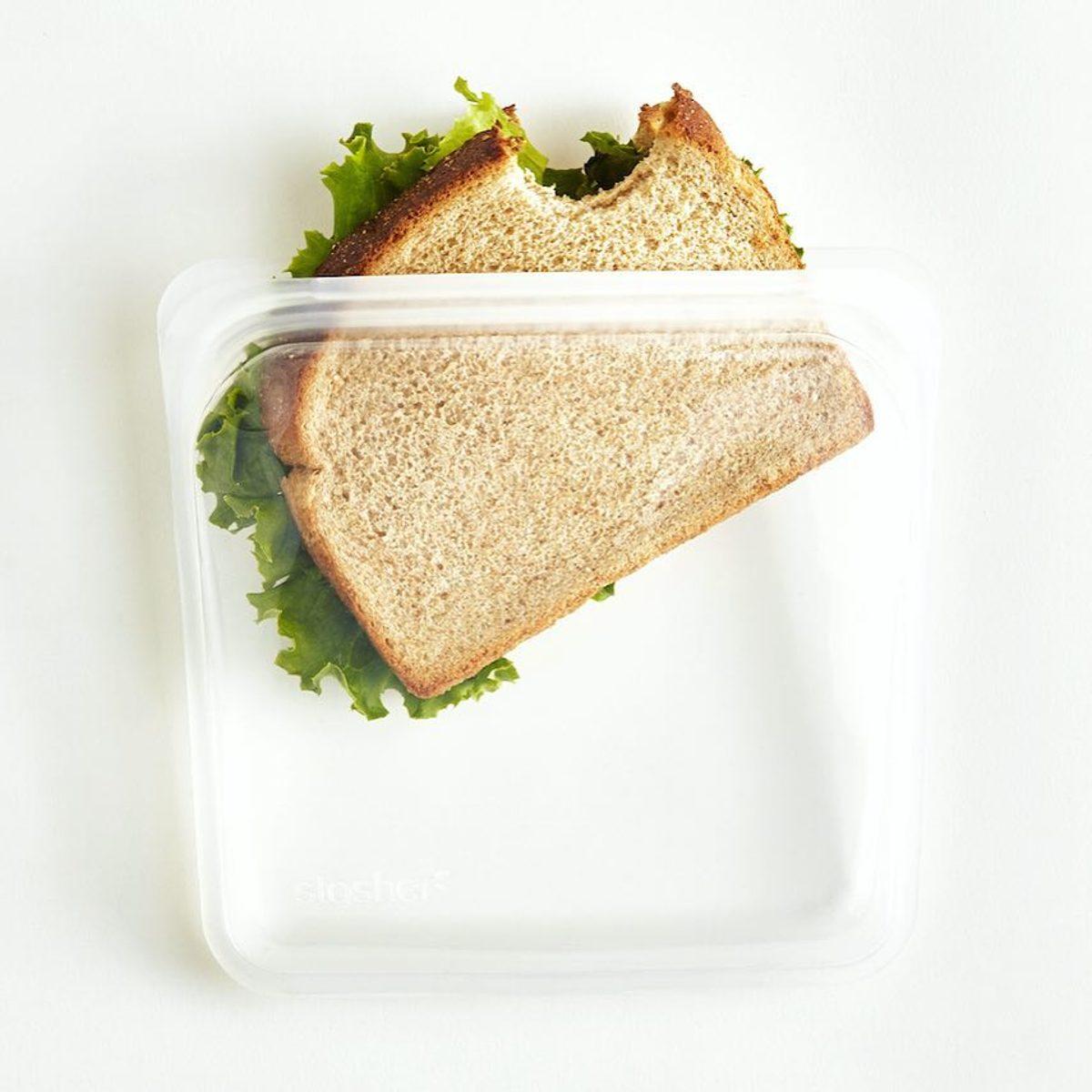 3000回加熱・冷凍できる密閉シリコンバッグ|《450ml/サンドイッチ》密閉保存から調理まで、これひとつで完結!繰り返し使えるシリコンバッグ|stasher<br>