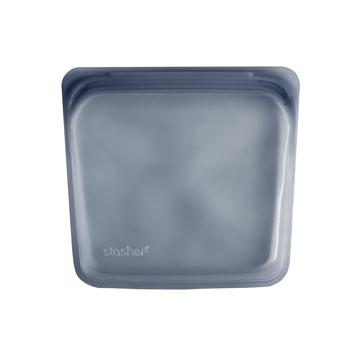 3000回加熱・冷凍できる密閉シリコンバッグ|《450ml/サンドイッチ》食材の密閉保存から調理まで、これひとつでOK!繰り返し使えるマルチバッグ|stasher<br>|スモーク(ブルーグレー)