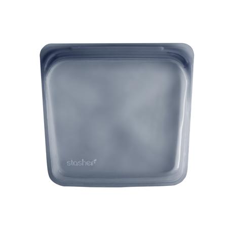 3000回加熱・冷凍できる密閉シリコンバッグ|《450ml/サンドイッチ》密閉保存から調理まで、これひとつで完結!繰り返し使えるシリコンバッグ|stasher<br>|【新色】スモーク(ブルーグレー)