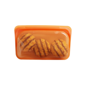 3000回加熱・冷凍できる密閉シリコンバッグ|《293.5ml/スナック》食材の密閉保存から調理まで、これひとつでOK!繰り返し使えるマルチバッグ|stasher|シトラス(オレンジ)