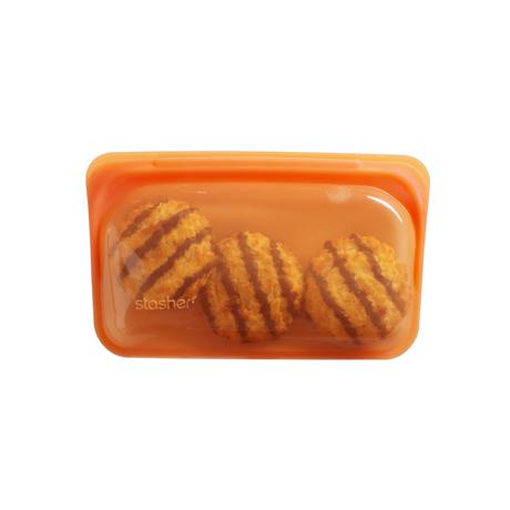 3000回加熱・冷凍できる密閉シリコンバッグ|《290ml/スナック》密閉保存から調理まで、これひとつで完結!繰り返し使えるシリコンバッグ|stasher|シトラス(オレンジ)