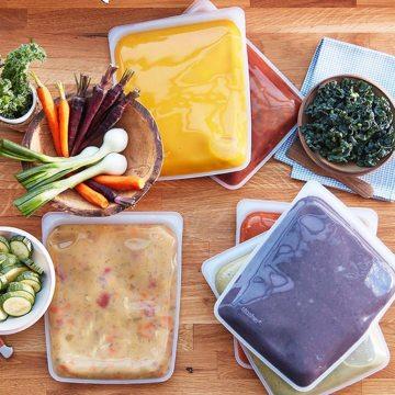 3000回加熱・冷凍できる密閉シリコンバッグ|《1.92L/ハーフガロン》食材の密閉保存から調理まで、これひとつでOK!繰り返し使えるマルチバッグ|stasher
