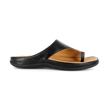 スニーカー感覚で歩き回れる「サンダル」|CAPRIレザーインソール (22-22.5cm) 独自開発の立体インソールで、スニーカーみたいに歩き回れる「サンダル」|strive|Black