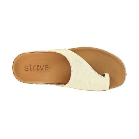 スニーカー感覚で歩き回れる「サンダル」|CAPRIレザーインソール (24-24.5cm) 独自開発の立体インソールで、スニーカーみたいに歩き回れる「サンダル」|strive|GoldMetallic