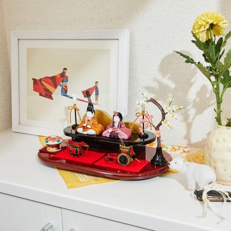 『毎年の幸せ』が御嬢様と家族に訪れる 《二段飾り》2019年・改元を記念した、木目込みプレミアムコンパクト雛人形   風雅 