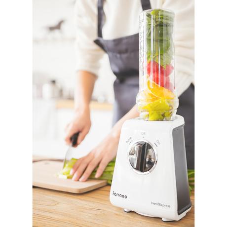 朝が変わる!なめらか「野菜の生スムージー」|皮つき野菜も氷も入れてOK、パワフルな小型ブレンダー|ferrano|スパークリングホワイト(在庫限り)