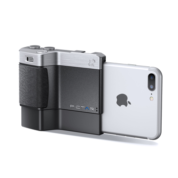 iPhone でもっと面白い写真撮りたい!|綺麗な写真を撮りながら、写真の楽しさが学べるカメラグリップ | PICTAR|Black(完売)