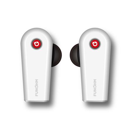 ワイヤレスイヤホンの「3大イライラ」を解決!|新発想!耳から落ちない、音が途切れない、20時間再生OKのワイヤレスイヤホン|FUNOHM F2|White(在庫限り)