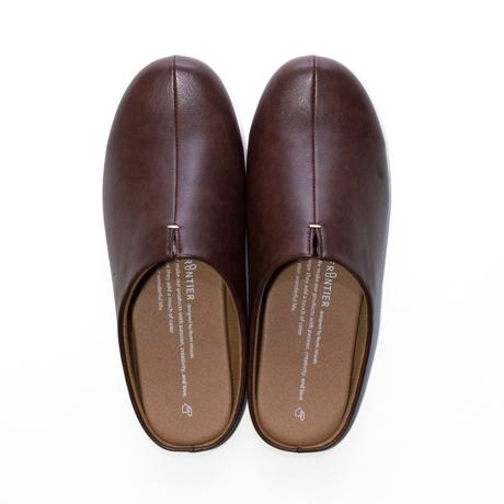 スキップしたくなる『スリッパ』|靴の製法でつくったからトコトン歩きやすい「スリッパ」|room's|ダークブラウン/M(22.5-24.5cm)