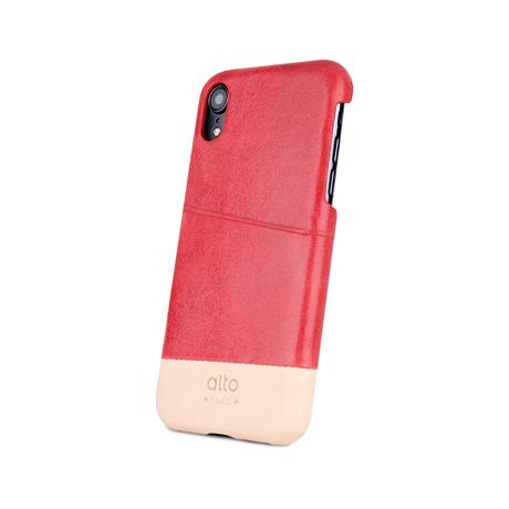 "iPhoneに""素肌""の気持ち良さ|革作りから手がけ、iPhoneとの「完璧な調和」を追求したカードホルダー付きスマホケース|Alto(iPhone X, XS, XR対応)|iPhone XR - コーラル/ナチュラル"
