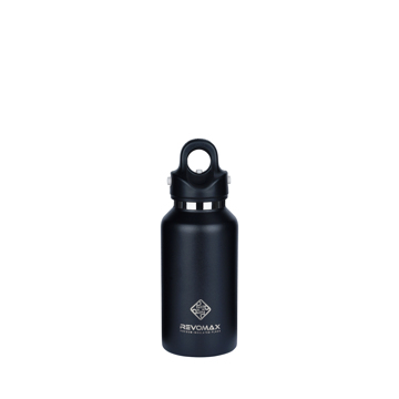 「指3本」で密閉できる魔法瓶|《355ml》炭酸もビールも36時間保冷、保温も18時間OKの「マイボトル」|REVOMAX|オニキスブラック