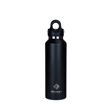 「指3本」で密閉できる魔法瓶|《592ml》炭酸もビールも36時間保冷、保温も18時間OKの「マイボトル」|REVOMAX|オニキスブラック