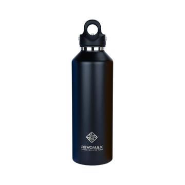 「指3本」で密閉できる魔法瓶|《950ml》炭酸もビールも36時間保冷、保温も18時間OKの「マイボトル」|REVOMAX|オニキスブラック