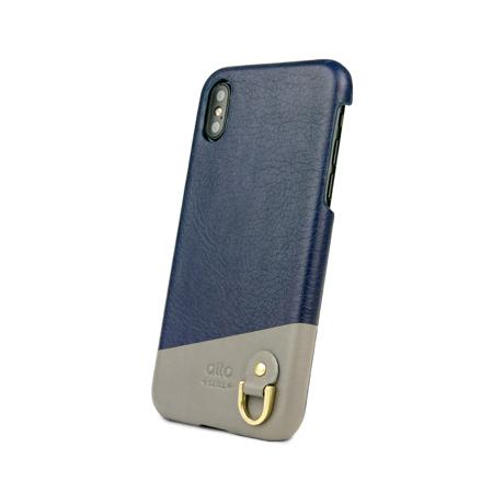 "iPhoneに""素肌""の気持ち良さ|革作りから手がけ、iPhoneとの「完璧な調和」を追求したDリング付きスマホケース(ストラップ別売)|Alto(iPhone X,XS,XR対応)|iPhoneXS(X対応)|Navy"