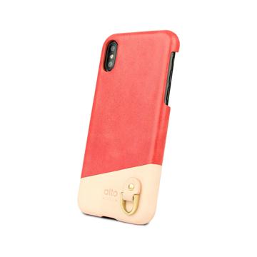 "iPhoneに""素肌""の気持ち良さ|革作りから手がけ、iPhoneとの「完璧な調和」を追求したDリング付きスマホケース(ストラップ別売)|Alto(iPhone X,XS,XR対応)|iPhoneXR|Coral"