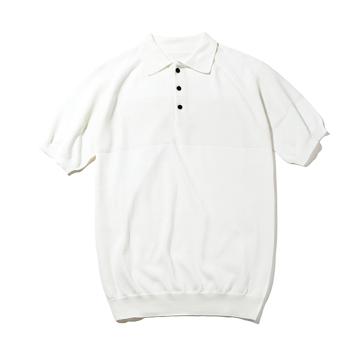 おしゃれポロの新定番は「和紙」|汗でベタつかない、匂わない、綿より軽い!三拍子揃った「ニットポロシャツ」|伊予和紙ポロシャツ|白|Mサイズ