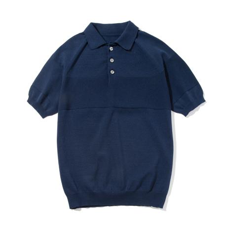 おしゃれポロの新定番は「和紙」|汗でベタつかない、匂わない、綿より軽い!三拍子揃った「ニットポロシャツ」|伊予和紙ポロシャツ|ネイビー|Lサイズ