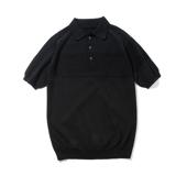 おしゃれポロの新定番は「和紙」|汗でベタつかない、匂わない、綿より軽い!三拍子揃った「ニットポロシャツ」|伊予和紙ポロシャツ|黒|Lサイズ