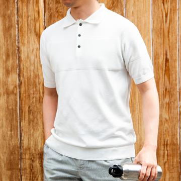 おしゃれポロの新定番は「和紙」|汗でベタつかない、匂わない、綿より軽い!三拍子揃った「ニットポロシャツ」|伊予和紙ポロシャツ|白|Lサイズ