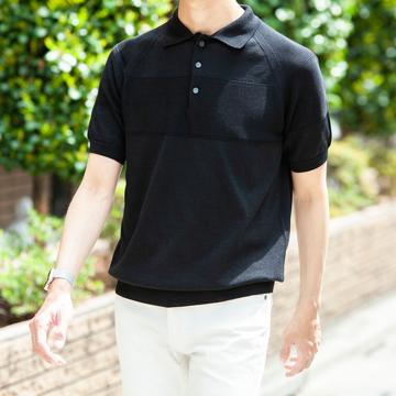 おしゃれポロの新定番は「和紙」|汗でベタつかない、匂わない、綿より軽い!三拍子揃った「ニットポロシャツ」|伊予和紙ポロシャツ|黒|XLサイズ