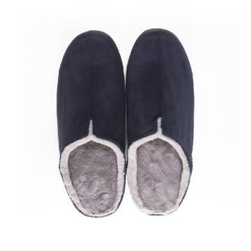 寒い日も、スキップしたくなる『スリッパ』|靴の製法でつくったから、ボアつきなのに歩きやすい「モコモコスリッパ」|room's moco|ネイビー/L(25-27cm)