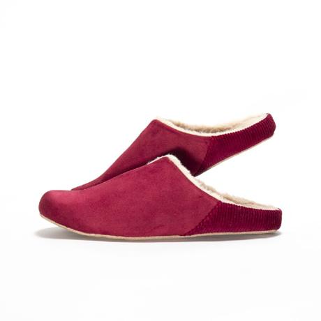 寒い日も、スキップしたくなる『スリッパ』|靴の製法でつくったから、ボアつきなのに歩きやすい「モコモコスリッパ」|room's moco|レッド/M(22.5-24.5cm)