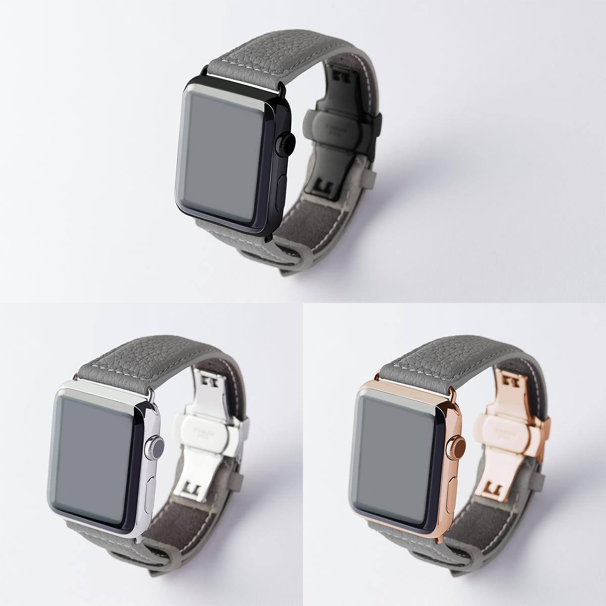 """今日のおしゃれは""""Apple Watch""""から 2020年新色登場《Mサイズ/38&40mmケース対応》アクティブな腕元を洗練する、ワンタッチ着脱の「カーフレザーバンド(腕回りの長さ150~190㎜)」 EPONAS"""