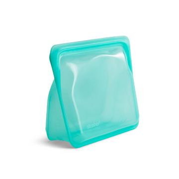 3000回加熱・冷凍できる密閉シリコンバッグ|《1.6L/スタンドアップ ミディアム》食材の密閉保存から調理まで、これひとつでOK!たっぷり容量で自立もするマルチバッグ|stasher|アクア(ブルー)