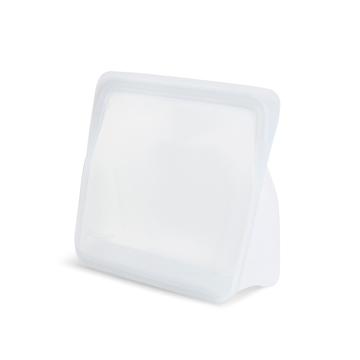 3000回加熱・冷凍できる密閉シリコンバッグ|《1.6L/スタンドアップ ミディアム》食材の密閉保存から調理まで、これひとつでOK!たっぷり容量で自立もするマルチバッグ|stasher|クリア