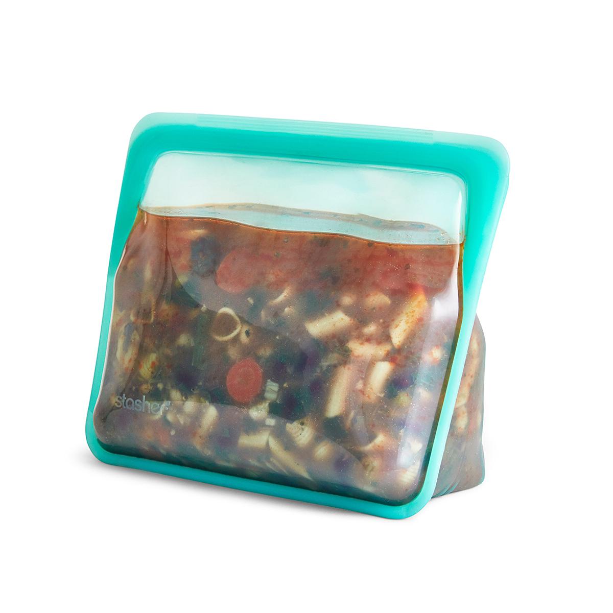 3000回加熱・冷凍できる密閉シリコンバッグ|《1059ml/スタンドアップ》密閉保存から調理まで、これひとつで完結!たっぷり容量で自立もするマルチバッグ|stasher