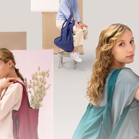 一瞬でリュックになる「変身エコバッグ」|《新色》ひっぱるだけ、リュックにもトートにもなる特許構造の「エコバッグ」|notabag