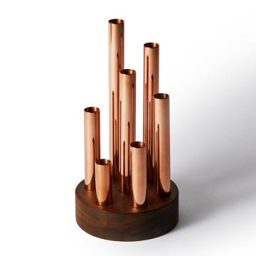 《LOTUS/Walnut》花器ごと自由に入れ替えられて、バランス調整ができる一輪挿しの集合体|BULBOUS