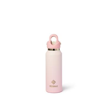 「指3本」で開閉できる魔法瓶|《スリム グラデーションタイプ 355ml》炭酸水もビールもOK!ワンタッチで開く、保冷36時間・保温18時間の「マイボトル」|REVOMAX|(NEW)ベビーピンク