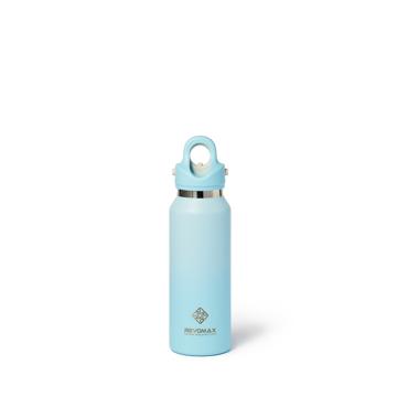 「指3本」で開閉できる魔法瓶|《スリム グラデーションタイプ 355ml》炭酸水もビールもOK!ワンタッチで開く、保冷36時間・保温18時間の「マイボトル」|REVOMAX|(NEW)スカイブルー