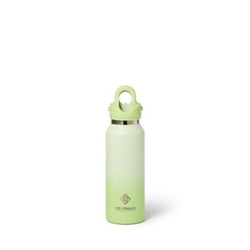 「指3本」で開閉できる魔法瓶|《スリム グラデーションタイプ 355ml》炭酸水もビールもOK!ワンタッチで開く、保冷36時間・保温18時間の「マイボトル」|REVOMAX|(NEW)ソフトライム