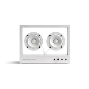 まるでオブジェ、ガラスとスピーカーユニット2つだけの潔さが美しい「Bluetoothスピーカー」|TRANSPARENT SPEAKER