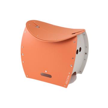まだ進化するの!? 薄さ4cmのどこでもイス|《PATATTO 350+(座面高さ35cm)》座面を外せば、ゴミ箱・防災トイレが出現する「折りたたみイス」|PATATTO|テラコッタ×ホワイト