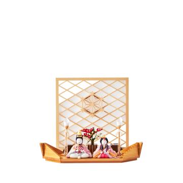 毎年のしあわせを願う「リビング雛人形」|《平飾り》日本伝統工芸をコンパクトモダンにした、江戸木目込の「プレミアム親王飾り」※第一期受注分|柿沼人形|清雅雛